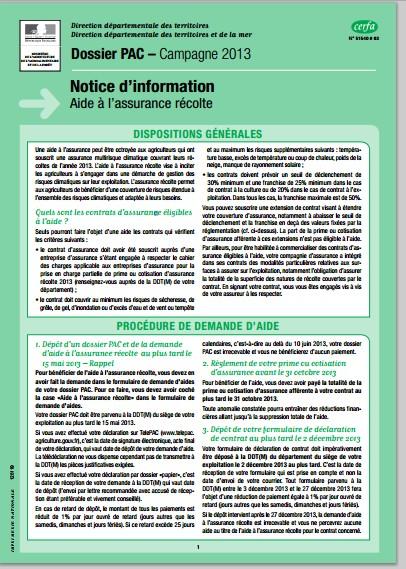 Notice d'information Telepac Aide à l'assurance récolte