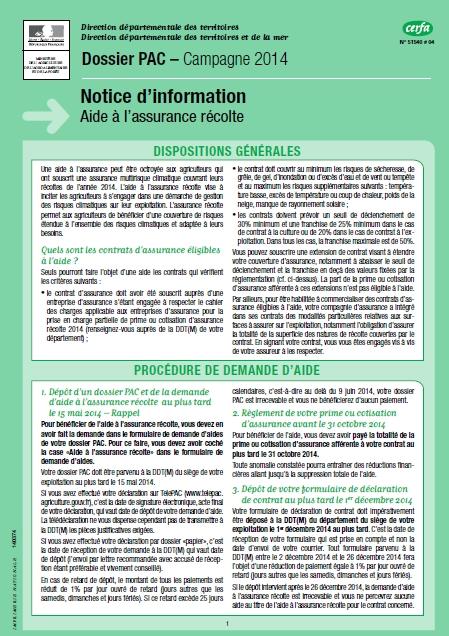 Notice d'information Telepac Aide à l'assurance récolte 2014